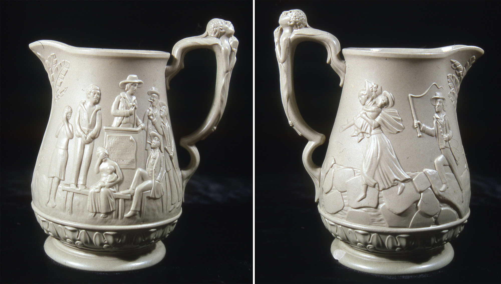Anti-slavery pitcher, made by E. Ridgeway & Abington, Hanley, England, c. 1853. Gift of Julia A. Grimstad.