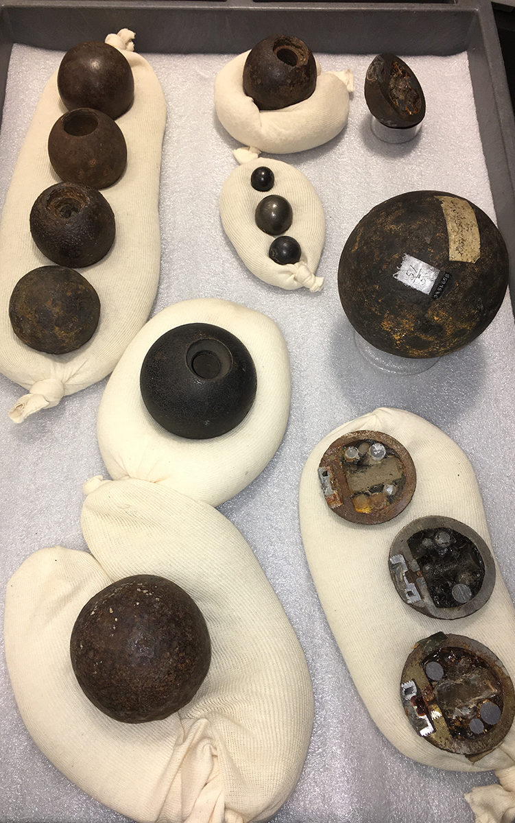 Allegheny Arsenal cannonballs, from the cache of 1,250 recovered in 1972, deactivated and sectioned at Picatinny Arsenal, NJ.
