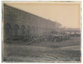 Horse-drawn caissons and limbers, pictured here, carried chests of artillery ammunition. After the Civil War, these vehicles were parked at Allegheny Arsenal and the ammunition unloaded and stacked.