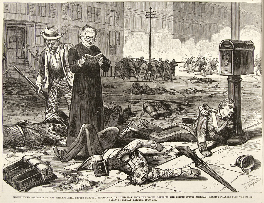 """""""Retreat of the Philadelphia Troops,"""" Frank Leslie's Illustrated Newspaper, August 4, 1877. Courtesy of the Newberry Library. 