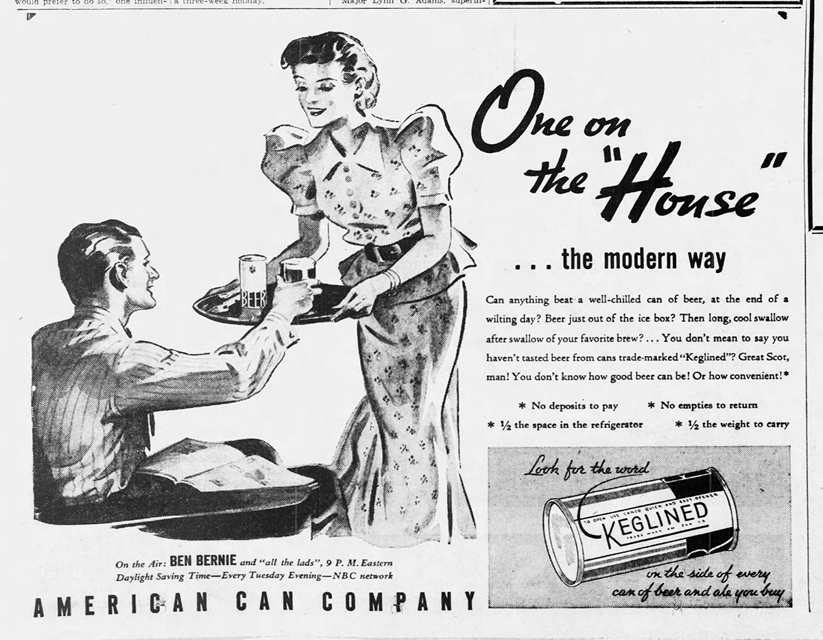 """Advertisement for the American Can Company's """"Keglined""""cans, 1936. The Pittsburgh Press, July 14, 1936."""