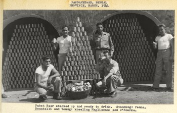 Soldiers with pyramids of Pabst Blue Ribbon Beer, China-Burma-India Theater, 1944.   Heinz History Center