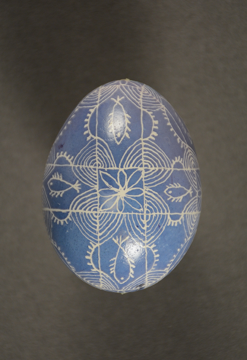 Though the patterning on this egg is traditional, the coloring is more modern. Gift of Timo Family.