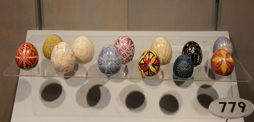Pysanky eggs made by Helen Timo on display in the Special Collections gallery. Gift of Timo Family.