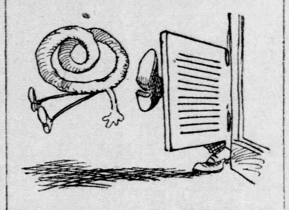"Carton depicting a pretzel being kicked out of a saloon during the ""Free Lunch"" debate, 1909. Pittsburgh Daily Post, March 17, 1909."