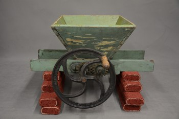 Fruit crusher. It is essential to break the skin of the grapes before pressing the fruit. Gift of Mark Giovannitti, History Center Collections, 2018.24