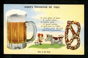 """Here's Thinking of You,"" postcard, c. 1930s."