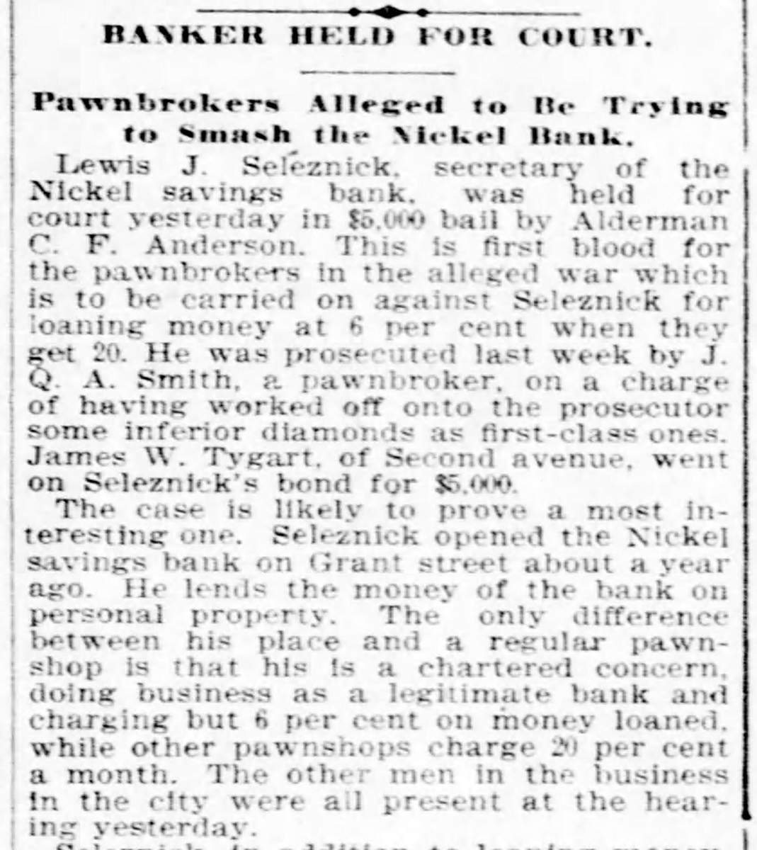 Headline from Nickel Savings Bank court case, 1897. Pittsburgh Daily Post, April 1, 1897.