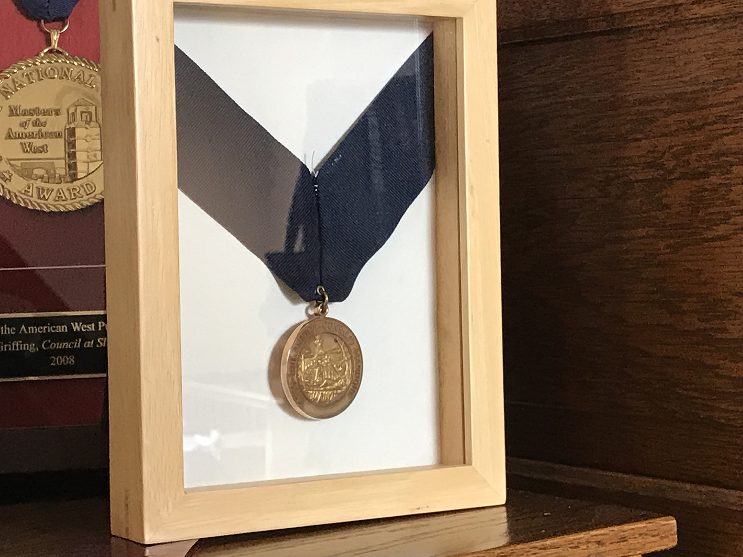 Robert Griffing's Forbes Medal. Awarded to him in 1999 by the Fort Pitt Museum and Pennsylvania Historical and Museum Commission for his contributions to art and the promotion of Western Pennsylvania history. Photo by Kathleen Lugarich.