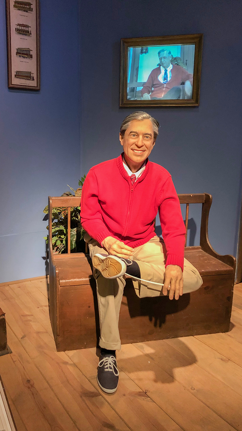 Mister Rogers' bench, on display in the Special Collections gallery.