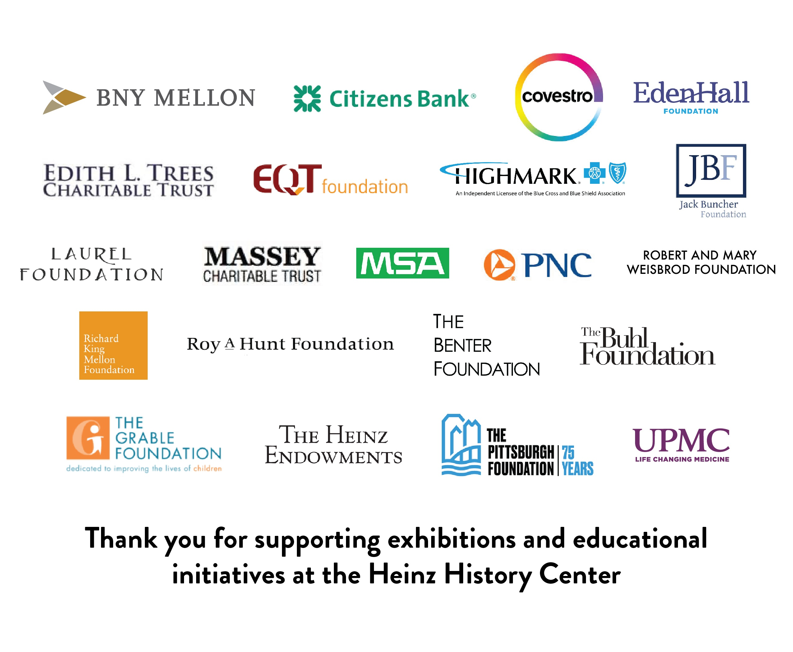 Thank you to the Heinz History Center sponsors