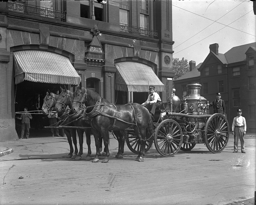 Fire fighters from Engine Company No. 47, Fulton St. and Lincoln Ave in Pittsburgh's Manchester neighborhood. c. 1910.