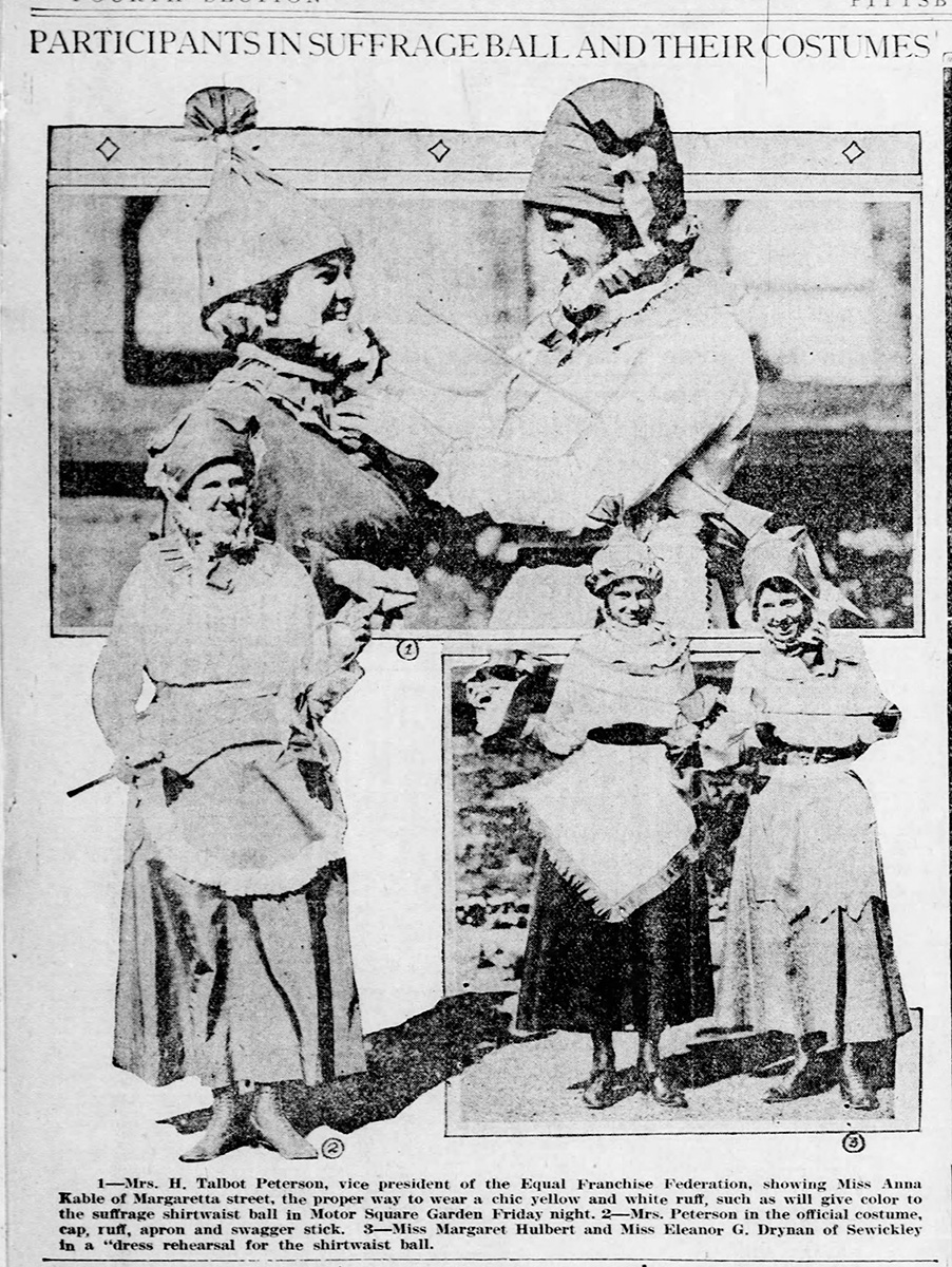 """""""Participants in Suffrage Ball and their Costumes,"""" Pittsburgh Post-Gazette, November 5, 1916."""