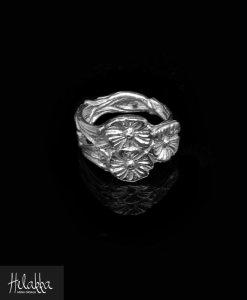 Helakka hopeasormus kukkatrio