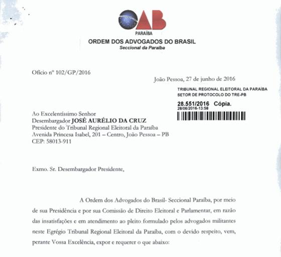 OAB requerimento pede celeridade ao TRE 27jun2016
