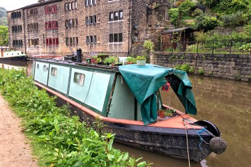 Houseboat canal narrowboats Hebden Bridge atop