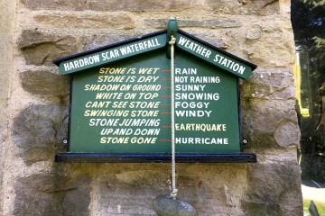 Weather station stone Hardrow Scar Waterfall Dales Yorkshire smile on Saturday