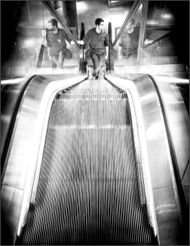 monochrome escalator