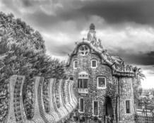 HOUSES, Monochrome,Gaudi, Park Guell, Barcelona