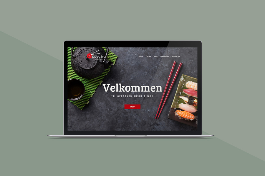 Nettsiden til Oppegård Sushi, vist på en macbook med grønn bakgrunn
