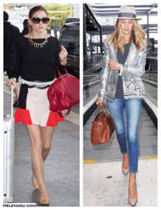Refined Airport Style: Flounce Skirt & Printed Jacket