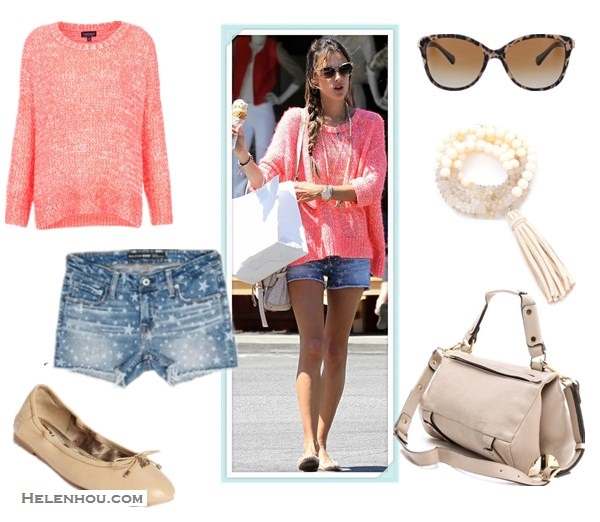 how to wear denim shorts; summer outfit ideas shorts;    On Alessandra Ambrosio: Topshop Knitted Fluro Weave Jumper, Big Star 1974 Denim Remy Star Short, Mulberry bag,Ombre Coral and Rutilated Quartz Necklace, ballet flats;  Alternatives:   Sam Edelman 'Felicia' ballet Flat,  Golden Lane Small Duo Satchel,   Dolce & Gabbana Iconic Logo Sunglasses,