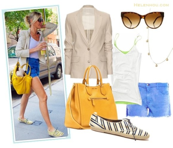 how to wear denim shorts; summer outfit ideas shorts;    On Cameron Diaz:Reed Krakoff yellow bag, Stella McCartney sunglasses, Tabitha Simmons striped Espadrille Sneaker, high waisted denim shorts, white tank, beige blazer,   Alternatives: Miu Miu STRUCTURED LEATHER TOTE,  Joe's Jeans Easy Cutoff denim Shorts,  Gap Womens New Support Cami,  Acne LINEN BLAZER,  Stella McCartney CAT-EYE STYLE SUNGLASSES,  stella & dotDemi Layering Necklace - Gold,