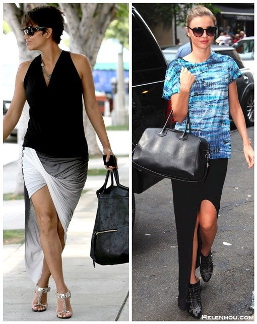 How to wear a side split maxi skirt/dress, how to wear a Asymmetrical Skirt; Featured Halle Berry & Miranda Kerr with tie dye t shirt, side slit skirt, givenchy bag, studded booties, Ombre Asymmetrical Skirt, suede tote, metallic t strap sandal;  On Miranda Kerr: Proenza Schouler Tie-dye cotton-jersey   T-shirt,Helmut helmut lang Kinetic Side Slit Maxi Skirt,   Chloé Black Studded Multi-Buckle Susanna Ankle Boots,   Givenchy Antigona Bag, Stella McCartney sunglasses.  On Halle Berry: Yves Saint Laurent sunglasses, black v neck top, Helmut Lang Shadow Ombre Asymmetrical Skirt,metallic sandal, Foley Classic Mid City Tote.