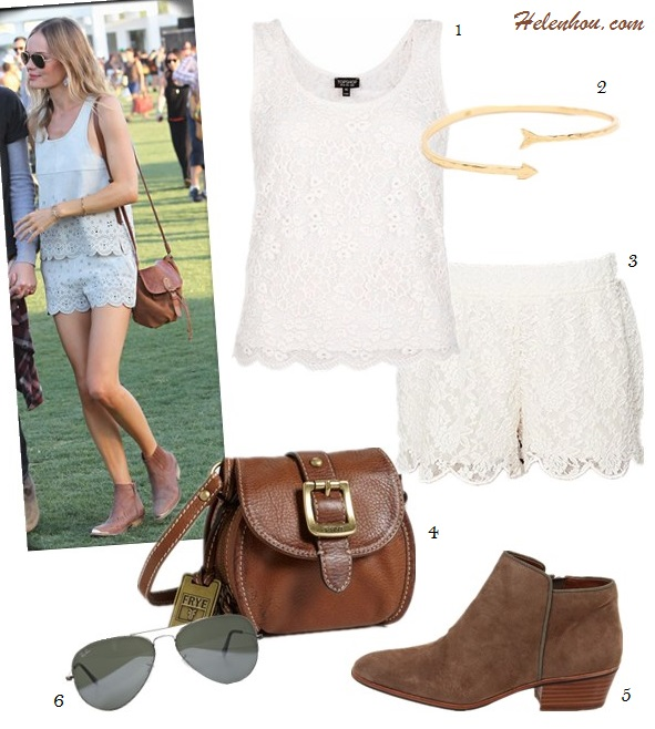 how to wear lace shorts; How to Wear White; festival outfit ideas;  Nikki Phillips, Alessandra Ambrosio, Kate Bosworth, coachella 2013, white lace shorts, embroidered top, embellished tank, ankle boots, aviator sunglasses;  On Kate Bosworth at coachella 2013: topshop suede Scalloped tank and shorts, ankle boots, brown crossbody bag, avator sunglasses, gold bracelet. Alternatives: 1. Topshop Scallop Lace Vest,  2. gorjana Arrow Cuff,  3. FREE PEOPLE Scalloped Lace Skort,  4. Frye brown Crossbody bag,  5. Sam Edelman ankle boots,  6. Ray-Ban Aviator sunglasses,