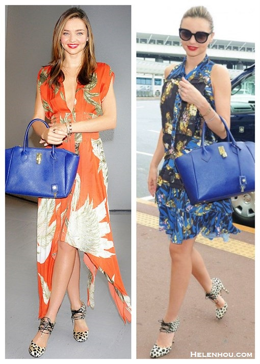 how to wear a floral print dress, how to wear leopard print, Miranda Kerr, airport style. On Miranda Kerr: Bionda Castana leopard print shoes, Wes gordon orange print dress with asymmetrical hem, Samantha Thavasa blue leather bag,  Swarovski jewlery. On Miranda Kerr: Alexander McQueen blue print dress,  Samantha Thavasa blue leather bag, Bionda Castana animal print lace up pumps, Marc Jacobs sunglasses.