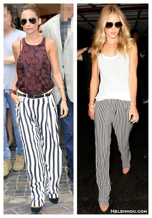 How to wear stripe pants, how to wear wide-leg pants, Nicole Richie, Rosie Huntington, party outfit, street style, spring/summer.  On Nicole Richie: Balmain Striped Silk Georgette Pants, A.L.C Blood Floral Red Abstract Top, MANOLO BLAHNIK BB Pointed Toe Pump,Ray-Ban Original Aviator Sunglasses, studded belt, leather cuff, gold bangle;  On Rosie Huntington-whiteley: white top, Gerard Darel striped pants,  Emilio Pucci bag,  Brian Atwood strap sandal, Jacquie Aiche jewelry, aviator sunglasses.