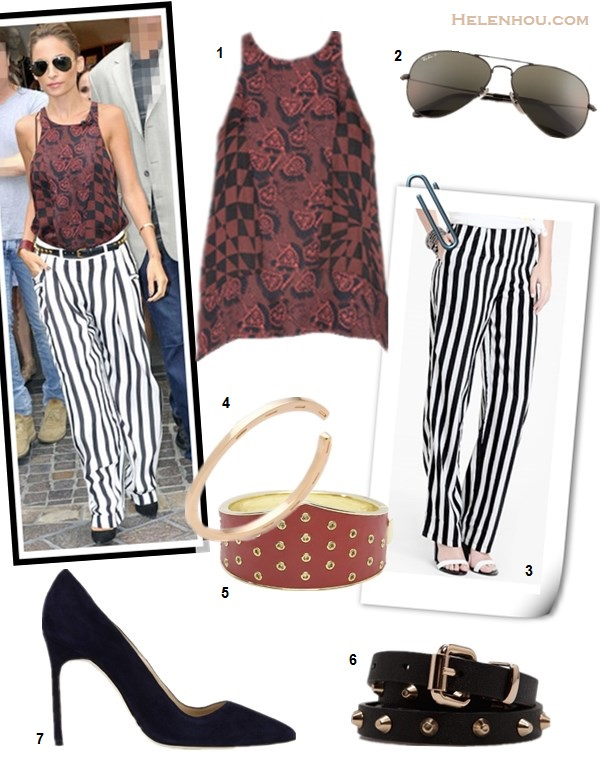 How to wear stripe pants, how to wear wide-leg pants, Nicole Richie, Rosie Huntington, party outfit, street style, spring/summer.  On Nicole Richie: Balmain Striped Silk Georgette Pants, A.L.C Blood Floral Red Abstract Top, MANOLO BLAHNIK BB Pointed Toe Pump,Ray-Ban Original Aviator Sunglasses, studded belt, leather cuff, gold bangle; Alternatives:  1. A.L.C. Huntley floral printed Top in Red,  2. Ray-Ban Aviator Original,  3. Thread Sence Vaudeville Striped Trousers,  4. House of Harlow 1960 bangle,  5. House of Harlow 1960 14KT Yellow Gold-Plated Red Leather Triangle Cuff,  6. Mango studded belt,  7. Manolo Blahnik BB Suede Pointed-Toe Pump,