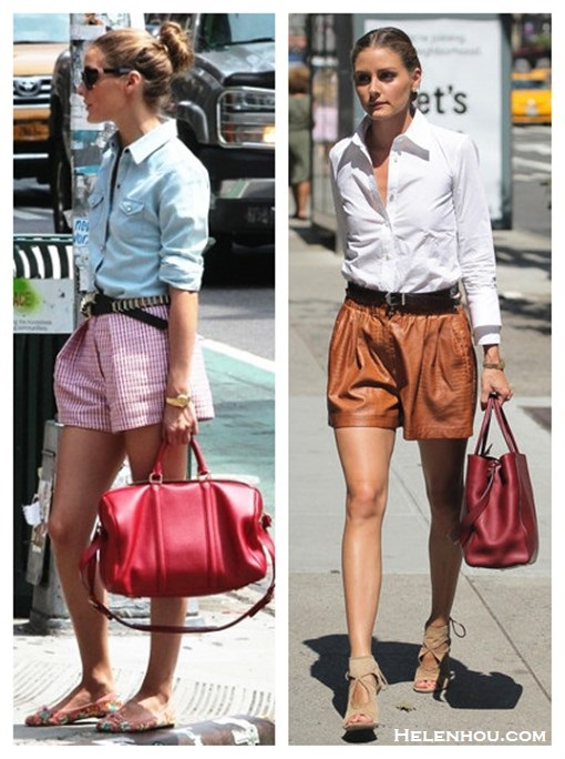 How to wear leather shorts, how to wear printed shorts, Olivia Palermo, street style, spring/summer outfit ideas 2013, denim chambray shirt, printed jacquard shorts, floral ballet flats, burgundy red tote, white shirt, brown leather shorts, cut out sandal,   On Olivia Palermo: Msgm Red and Pink Jacquard Woven shorts, 7 For All Mankind Slim Western Denim Shirt, Pretty Ballerinas floral ballet flats, Westward Leaning sunglasses, Louis Vuitton red duffel bag.   On Olivia Palermo: Zara leather shorts, Fendi 2Jours Medium Tote Bag burgundy, Aquazzura Sexy Thing Suede Cutout Sandal, white shirt;