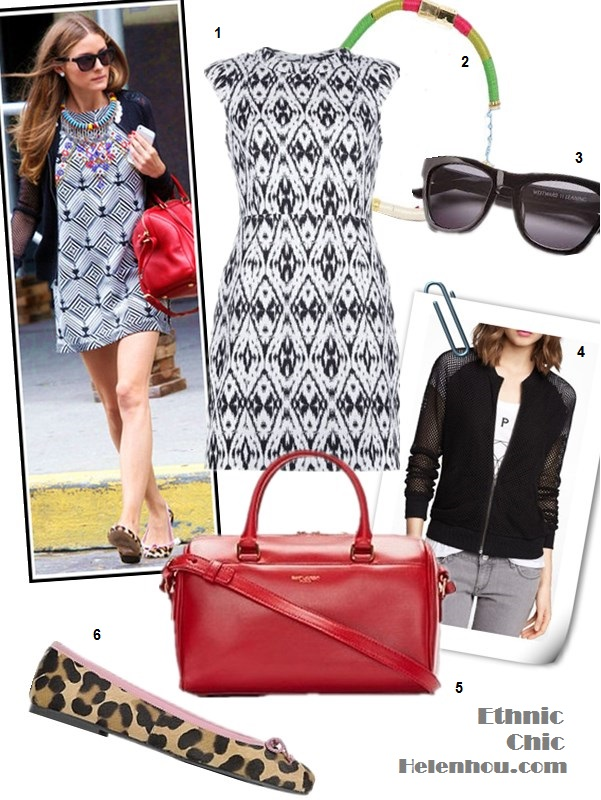 how to wear black and white; how to wear prints, how to wear sequins; how to wear animal prints; Olivia Palermo; party outfit, street style, spring/summer, geo print dress, leopard flats, snakeskin flats,sequin blazer,zebra skirt, red bag, Givenchy Antigona,  On Olivia Palermo: Westward Leaning Lousiana Purchase   Sunglasses, Free People black and white shift dress, Louis   Vuitton duffel red bag, Express Mesh Baseball Jacket,   Pretty Ballerinas Rosario Leopard Print ballet flats,   ethnic bold statement necklace;  Featured: Theory Andes Orinthia Graphic Jacquard Dress in White,  Holst + Lee ethnic necklace,  Westward Leaning Louisiana Sunglasses,  Saint Laurent 'Duffle 6′ satchel,