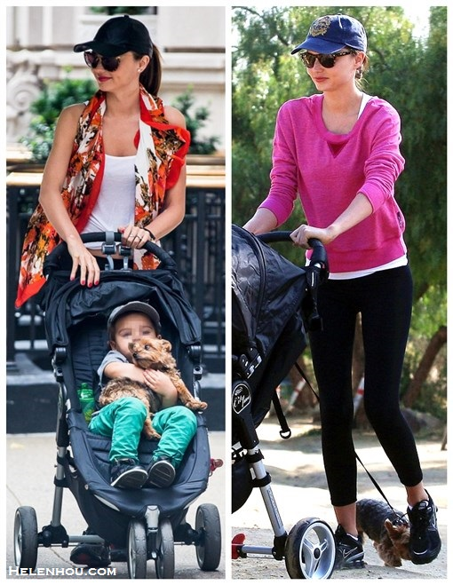 What to Wear to Workout; Miranda Kerr; Workouts for Busy Moms; What to wear to the park; On Miranda Kerr: white tank top, orange printed scarf, black leggings, leather baseball cap, sneakers; On miranda Kerr: purple pink sweatshirt, black leggings, nike sneaker, blue ball cap;