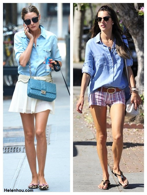 How to wear a chambray/denim shirt; How to wear pleated skirt; summer outfit idea 2013, street style, Olivia Palermo, Alessandra Ambrosio, white skirt, dior blue bag, leopard flats, striped shorts, strappy sandal, mulberry alexa,  On Olivia Palermo: 7 For All Mankind Slim Western Denim   Shirt, white pleated skirt, white leather belt, French   Sole leoaprd ballet flats, Christian Dior crossbody bag, 	  Celine aviator sunglasses;   On Alessandra Ambrosio: Bella Dahl Split Back chambray shirt, Isabel Marant Elia braided leather belt, Isabel Marant striped Shorts, Mulberry MINI ALEXA bag, DV by Dolce Vita strap sandal, Ray-Ban Clubmaster Sunglasses.