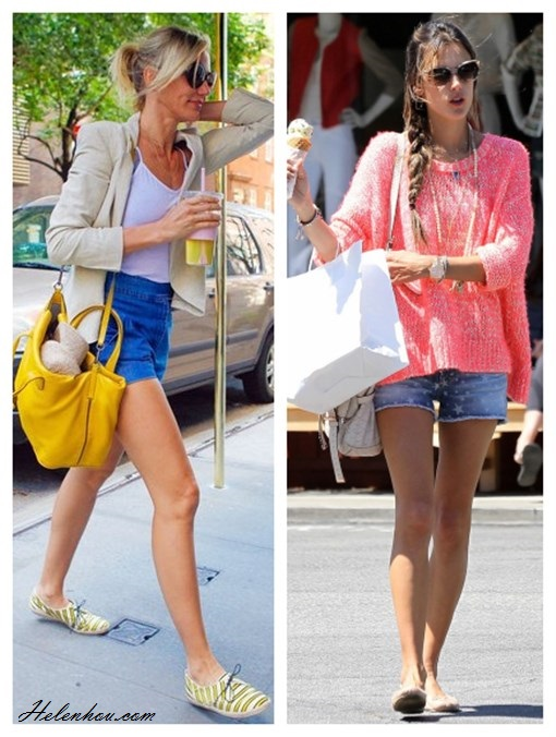 how to wear denim shorts; summer outfit ideas shorts;    On Cameron Diaz:Reed Krakoff yellow bag, Stella McCartney sunglasses, Tabitha Simmons striped Espadrille Sneaker, high waisted denim shorts, white tank, beige blazer,   On Alessandra Ambrosio: Topshop Knitted Fluro Weave Jumper, Big Star 1974 Denim Remy Star Short, Mulberry bag,Ombre Coral and Rutilated Quartz Necklace, ballet flats;