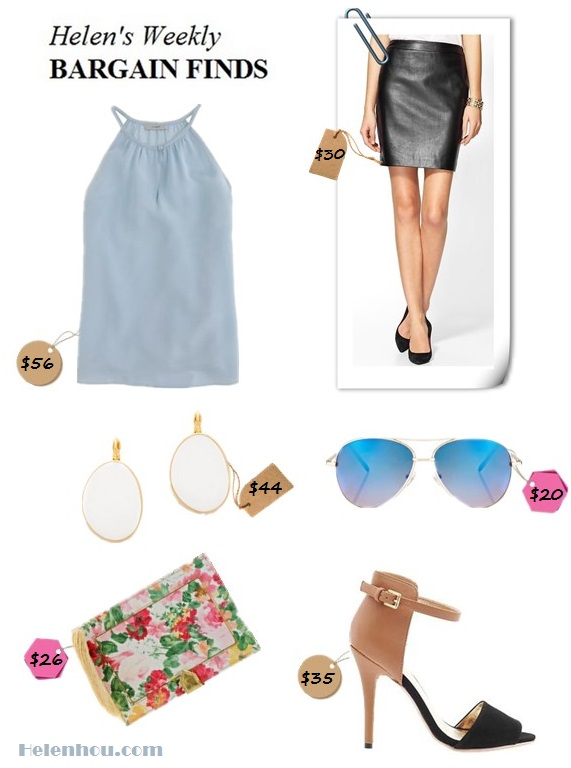 The art of accessorizing-helen's weekly bargain finds-leather skirt-floral clutch, strappy sandal, mirror sunglasses