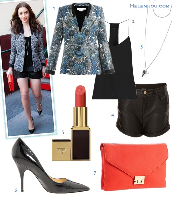 how to wear leather shorts; Floral print blazer; white blazer; colored pumps; Summer outfit ideas; Lily Collins,Beyoncé, street style, party outfits;  On Lily Collins: Helmut Lang printed blazer, Thakoon black Leather Shorts, black pointy toe pump, Loeffler Randall red lock clutch, GIVENCHY Shark Tooth Necklace.  Alternatives:  1. Helmut LangMandala print blazer,  2. Tibi Classic Racer Back Camisole,  3. Givenchy Women's Small Shark Tooth Necklace,  4. Topshop Zip Side Leather Look Shorts,  5. Tom Ford Beauty Lip Color 'True Coral',  6. Kate Spade New York Licorice black pointy toe pump,  7. Loeffler Randall Lock Clutch,