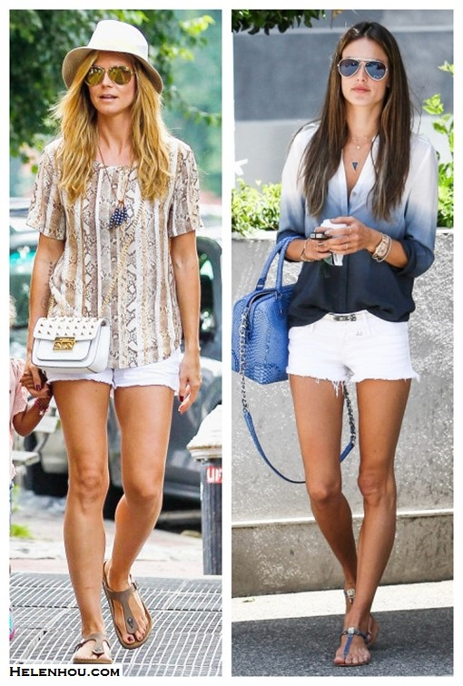 How to wear white shorts, how to wear printed top, summer outfit ideas 2013, street style,  Featured: white denim shorts, Heidi Klum, snake print top, white denim shorts, Gizeh sandal, white crossbody bag, mirror sunglasses, Alessandra Ambrosio, degrade blouse, blue bag, t strap sandal,    On Heidi Klum: Equipment Riley Tee, white denim shorts, MICHAEL Michael Kors Studded Bag, Birkenstock Gizeh sandal, white hat, aviator sunglasses. On Alessandra Ambrosio: Black Orchid white denim shorts,  Alice + Olivia Embossed Leather Bag, Two By Vince Camuto Ombre shirt, aviator sunglasses, T strap sandal.