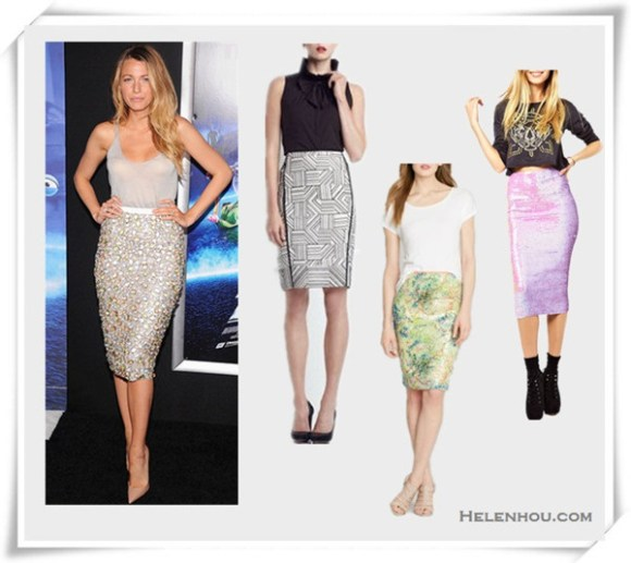 how to wear a sequin skirt; how to wear a asymmetrical skirt; how to wear printed skirt; Blake Lively, Jamie Chung, red carpet look, party outfit, embellished skirt,Christian Louboutin Pigalle, printed skirt, strappy sandal, grey shirt,   On Blake Lively: Burberry dress from the Burberry Prorsum resort 2014 collection, Christian Louboutin Pigalle 100 nude kid pump, Lorraine Schwartz ring;  From left:  Lafayette 148 New York Lillith Raffia-Embellished Linen Skirt,  Elie Tahari Sequin Vera Skirt,  ASOS Pencil Skirt in Pearlescent Sequins,