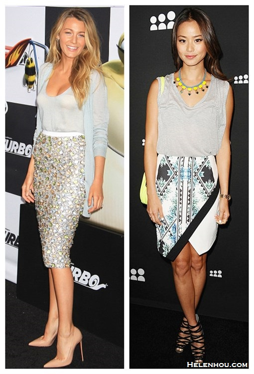 how to wear a sequin skirt; how to wear a asymmetrical skirt; how to wear printed skirt; Blake Lively, Jamie Chung, red carpet look, party outfit, embellished skirt,Christian Louboutin Pigalle, printed skirt, strappy sandal, grey shirt,   On Blake Lively: Burberry dress from the Burberry Prorsum resort 2014 collection, Christian Louboutin Pigalle 100 nude kid pump, Lorraine Schwartz ring;  On Jamie Chung:gray tee, Finders Keepers printed asymmetrical Skirt, yellow necklace, neon-yellow cross-body bag, black strappy heels;