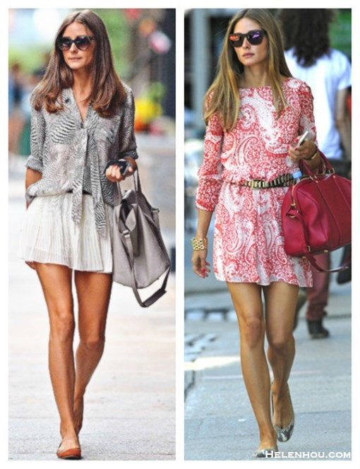 how to wear prints; Summer to Fall Transition outfit ideas, Olivia Palermo, spring/summer, street style, print blouse, white skirt, ballet flat, print dress, red bag, embellished belt, mirrored sunglasses.  On Olivia Palermo: red paisley print ASOS skater dress, black leather studded H&M belt,Louis Vuitton red bag, snakeskin Pretty Ballerina flats, gold cuff, Westward Leaning 'Color Revolution' mirror sunglasses,  On Olivia Palermo: printed bow tie blouse, Stylestalker white pleated skirt, One by meli melo Thela grey leather Bag,Matt Bernson ballet flat