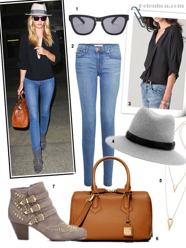 what to wear to the airport, how to wear studded ankle boots, street style, Rosie Huntington-Whiteley, Miranda Kerr, black top, jeans, denim shorts, studded booties, fedora hat, Viktor & Rolf, valentino, Isabel Marant,spring/summer,  On Rosie Huntington-Whiteley:Isabel Marant studded booties, Westward Leaning sunglasses, Jacquie Aiche necklace, Maison Michel fedora hat, Viktor & Rolf bag,J Brand 811 Mid-Rise Skinny Leg, Saint Laurent Crepe De Chine Peasant Blouse;   Alternatives:   Joie Marru Top (on Rosie Huntington here)  Rag & Bone Floppy Brim Fedora, Jules Smith Shark Necklace,  Henri Bendel THE CARLYLE SMALL BARREL,  Ash Joyce studded suede ankle boot