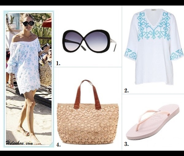 What to Wear on a beach vacation; how to wear a maxi dress, how to wear a white dress; beach outfit ideas 2013; spring/summer, street style;   On Olivia Palermo: Tibi white pleated maxi Dress, green ankle strap heel sandal, white tunic with blue floral print, beach cover-up, straw bag, flip flop, oversized sunglasses.  Featured: Tom Ford Margot oversized Round Sunglasses,  Sundance Catalog white FLOWER PRINT TUNIC,  Havaianas Slim Flip Flops,  Mar Y Sol straw bag