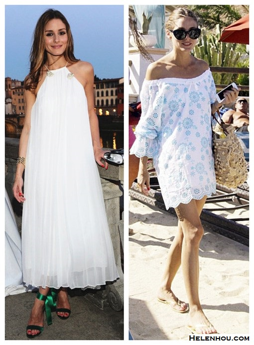 What to Wear on a beach vacation; how to wear a maxi dress, how to wear a white dress; beach outfit ideas 2013; spring/summer, street style;   On Olivia Palermo: Tibi white pleated maxi Dress, green ankle strap heel sandal, white tunic with blue floral print, beach cover-up, straw bag, flip flop, oversized sunglasses.