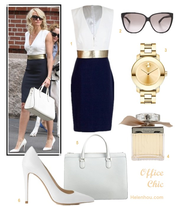 how to wear black and white; What to Wear to Work; summer office wear 2013; Cameron Diaz, Victoria Beckham, colorblock dress, white bag, white pump, white blouse, black blazer, black pants,black pump, black clutch;   On Cameron Diaz: Martin Grant Dana black and white Dress with gold belt, Valextra Heritage Top Handle white Bag, Christian Louboutin white pump, gold watch, oversize sunglasses;  Alternatives:   Gucci Youngster Oversized Cat Eye Sunglasses,  Movado 'Bold' Round Bracelet Watch,  Chloé Eau de Parfum Spray,   Topshop 'Gwenda' white Pump