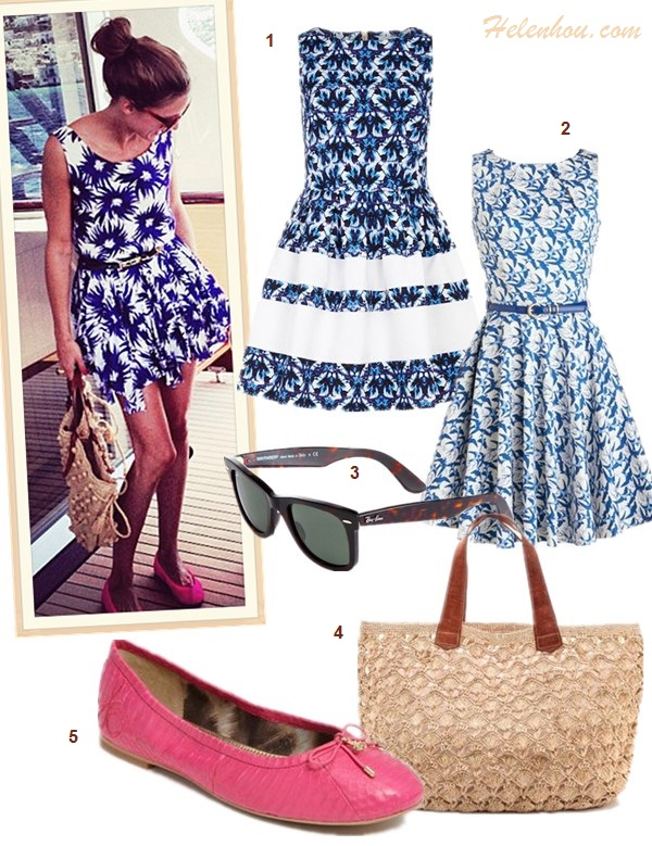 What to Wear on a beach vacation; how to wear print dress or skirt, how to wear white, beach outfit ideas 2013; spring/summer, street style;   On Olivia Palermo: white shirt, white mini skirt, gold bracelet, Westward Leaning sunglasses, blue floral print dress, pink ballet flat, straw tote;  Featured:   Dorothy Perkins Blue flower print dress, ModCloth Luck Be a Lady blue printed Dress, Ray-Ban Sunglasses,  Mar Y Sol straw bag, Sam Edelman 'Felicia' ballet Flat