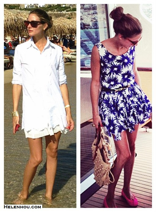 What to Wear on a beach vacation; how to wear print dress or skirt, how to wear white, beach outfit ideas 2013; spring/summer, street style;   On Olivia Palermo: white shirt, white mini skirt, gold bracelet, Westward Leaning sunglasses, blue floral print dress, pink ballet flat, straw tote;