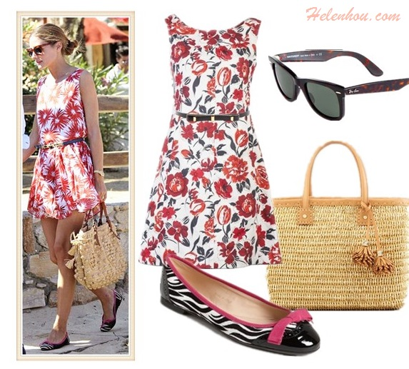 What to Wear on Vacation; how to wear prints, stripes and bold colors; Olivia Palermo, spring/summer, street style,  floral print dress, striped shorts,red top, ballet flats, straw tote,   On Olivia Palermo: floral print dress, Mar Y Sol straw bag, Pretty Ballerinas printed mesh ballet flat;  Alternatives: JIL SANDER NAVY Sleeveless floral dress,  'Biancospino' Zebra Print Ballet Flat,  Tory Burch Chunky Straw Tote,  B-Low The Belt Angelina Belt,  Ray-Ban Original Wayfarer Sunglasses,